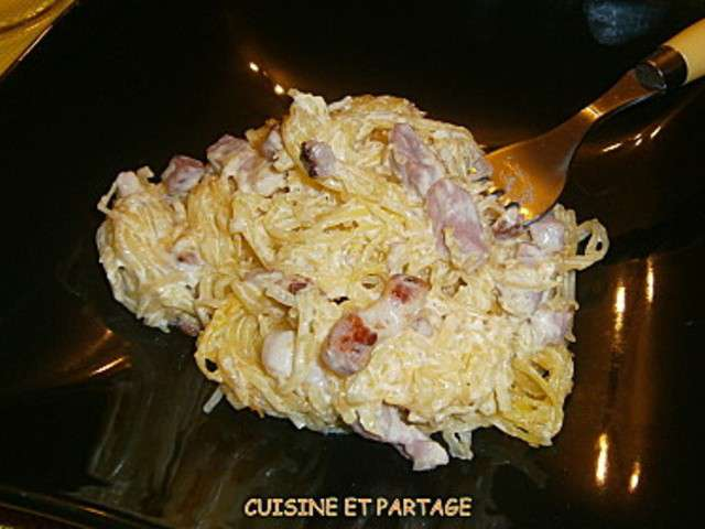 Recettes de courge spaghettis a la carbonara - Cuisiner la courge spaghetti ...
