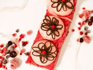 Bûche rose aux fruits rouges et chocolat blanc