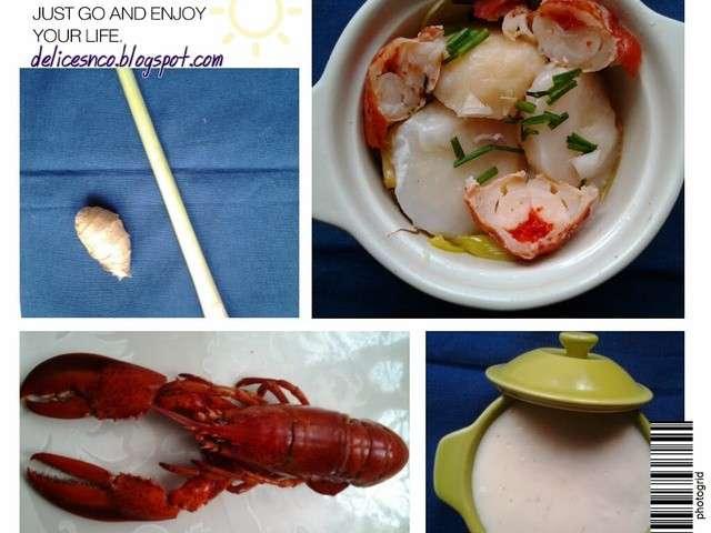 Les meilleures recettes de homard et poireaux - Cassolette de saint jacques sur lit de poireaux ...