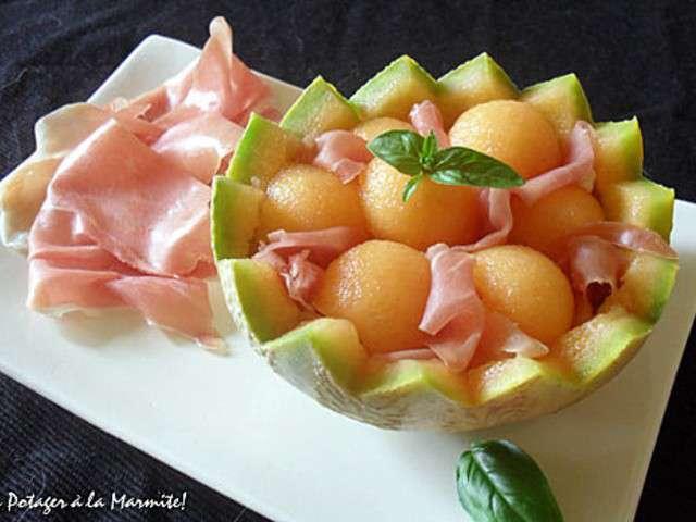 Les meilleures recettes de melon et jambon - Melon jambon cru presentation ...
