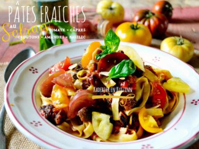 pates fraiches au safran sauce tomate capres crouton. Black Bedroom Furniture Sets. Home Design Ideas