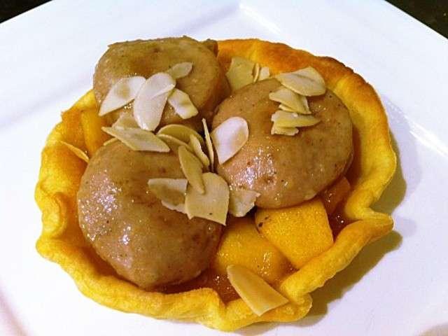 S tartelettes au boudin blanc aux pommes caramelisees au for Idee entree repas