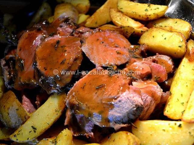 Gigot d agneau miel romarin patates au - Roti d agneau au four ...