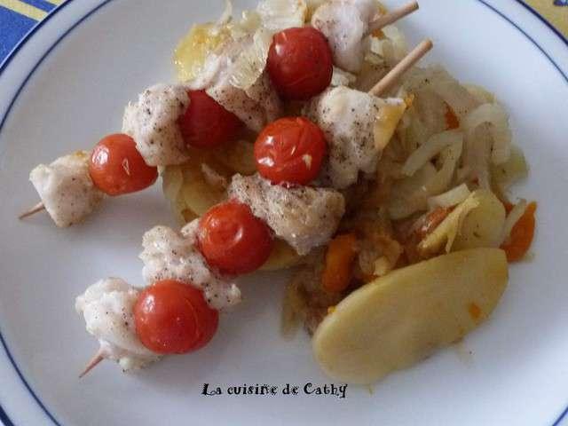 Recettes de brochettes de la cuisine de cathy for Poisson cuisine