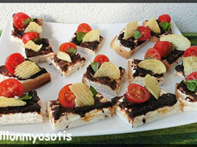 Recettes de toasts et olive for Canape aperitif froid