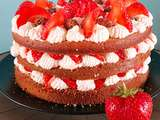 Birthday cake tout simple fraise et chantilly mascarpone