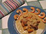 Potimarron, patate douce et crevettes au curry