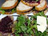 Sandwich betteraves, boeuf, roquette et cheddar fort