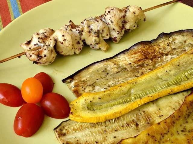 Recettes de brochettes de poulet et l gumes - Brochettes de poissons marines et grilles ...