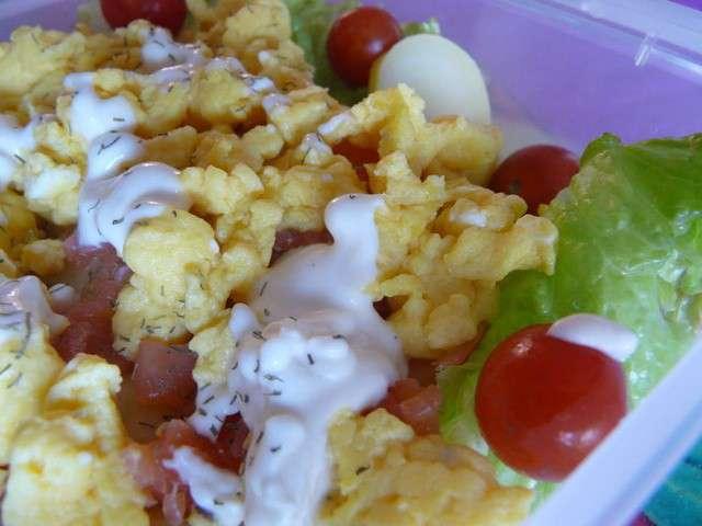 Recettes d 39 oeufs brouill s et saumon fum 2 - Salade pomme de terre saumon fume ...