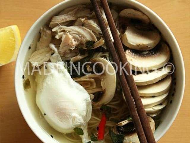 Soupe aux champignons et au poulet