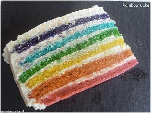 Rainbow Cake Ganache Chocolat Noir
