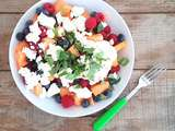 Salade melon, myrtilles, framboises, basilic et chèvre frais (Salad with melon, blueberries, raspberries, basil and fresh goat cheese)