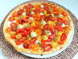 Tarte aux tomates cerises multicolores, concombre (ou courgettes) et fromage frais (Pie with multicolored cherry tomatoes, cucumber (or zucchini) and fresh cheese
