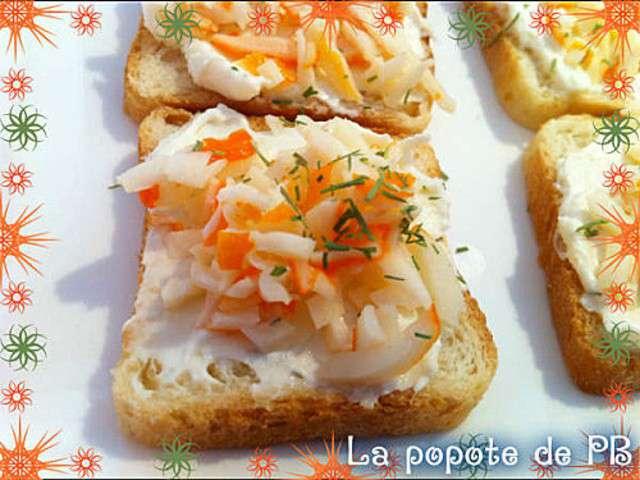 Les meilleures recettes de toasts et surimi - Idee toast apero dinatoire ...