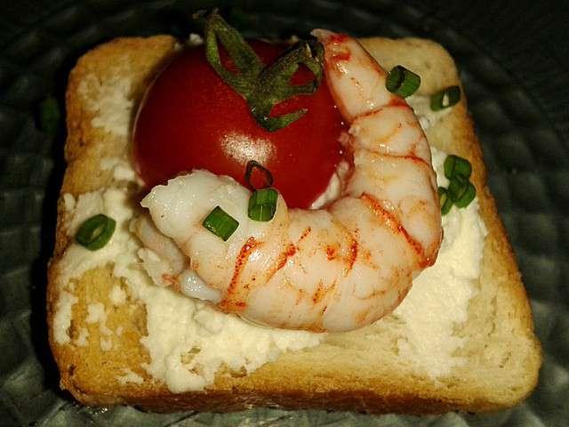 Recettes d 39 entr es de recettes de crevettes 2 for Canape au fromage