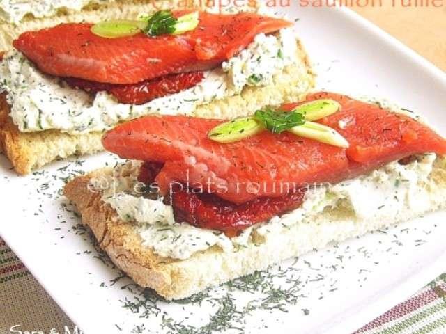 Recettes de saumon fum de les plats roumaines for Canape saumon fume