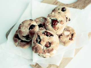 Cookies Cranberries, chocolat blanc & amandes